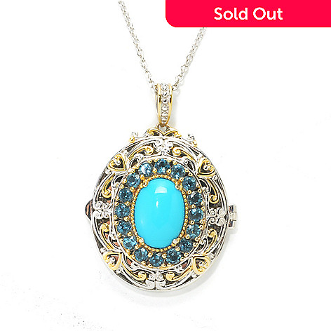 137-684 - Gems en Vogue 14 x 10mm Sleeping Beauty Turquoise & Blue Topaz Locket Pendant w/ Chain