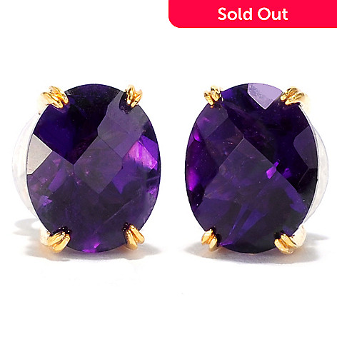 137-691 - Gems en Vogue 4.58ctw Tanzanian Color Shift Amethyst Stud Earrings