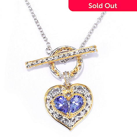 137-797 - Gems en Vogue 1.44ctw Tanzanite & White Sapphire Heart Toggle Necklace