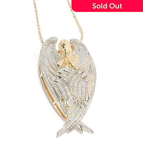 137-964 - Beverly Hills Elegance® 14K Gold 1.00ctw Diamond Angel Pendant w/ 18'' Chain