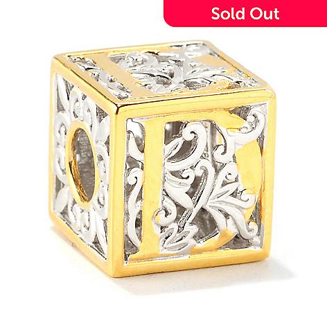 138-030 - Gems en Vogue Two-tone Initial Cube Slide-on Charm