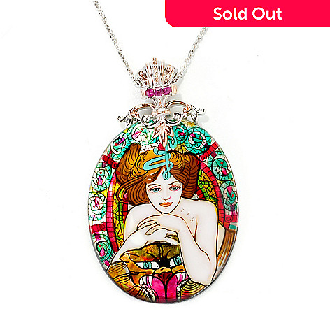 138-044 - Gems en Vogue 50 x 40mm Hand-Painted Mother-of-Pearl ''Empress'' Pendant