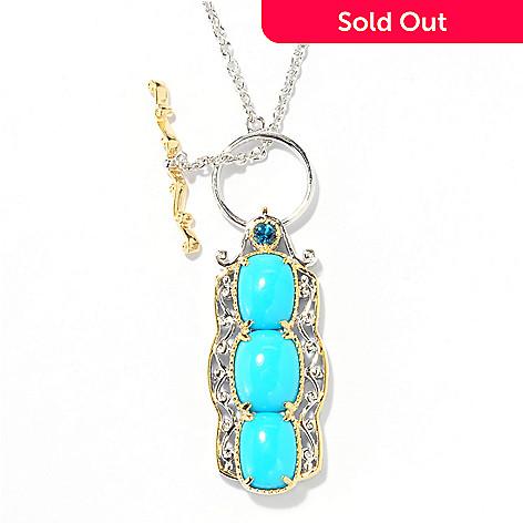 138-046 - Gems en Vogue 18'' Sleeping Beauty Turquoise & London Blue Topaz Toggle Necklace