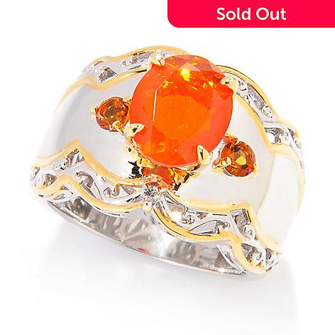 138-064 - Gems en Vogue 10 x 8mm Dyed Orange Ethiopian Opal & Multi Gem Wide Band Ring