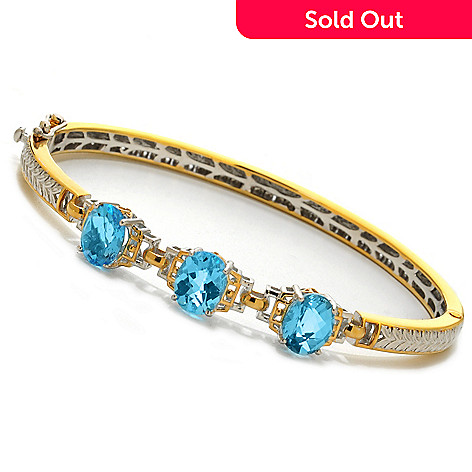 138-071 - Gems en Vogue 6.00ctw Oval Sky Blue Topaz Three-Stone Hinged Bangle Bracelet