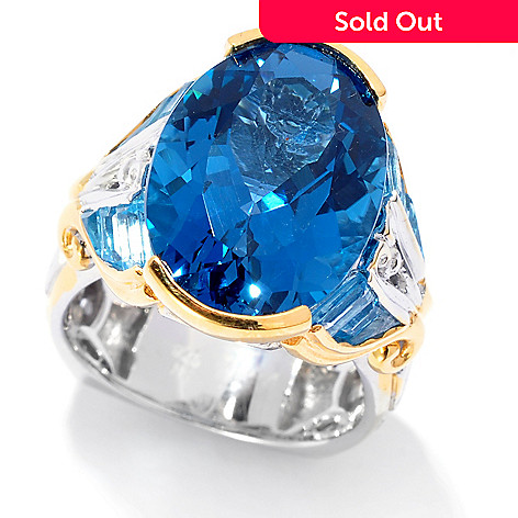 138-073 - Gems en Vogue 12.20ctw Oval London Blue Topaz & Baguette Swiss Blue Topaz Ring