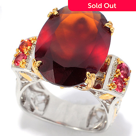 138-102 - Gems en Vogue 12.38ctw Oval Hessonite, White Sapphire & Orange Sapphire Ring