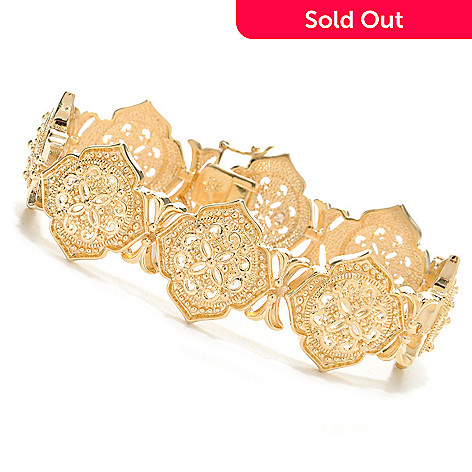 138-167 - Jaipur Jewelry Bazaar™ 18K Gold Embraced™ 7.5'' Polished Ornate Beadwork Link Bracelet
