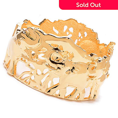 138-168 - Jaipur Jewelry Bazaar™ 18K Gold Embraced™ 7.5'' Polished Elephant Hinged Bangle Bracelet