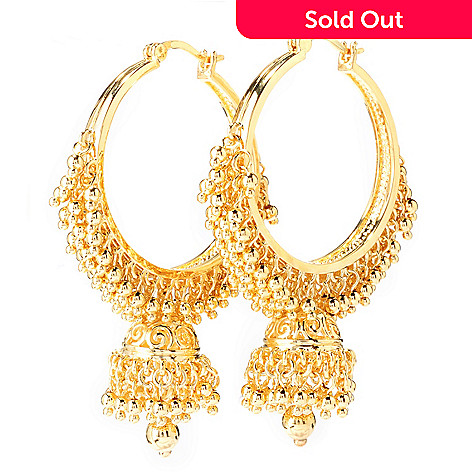 138-181 - Jaipur Bazaar 18K Gold Embraced™ 2.25'' Polished Bead Drop Hoop Earrings