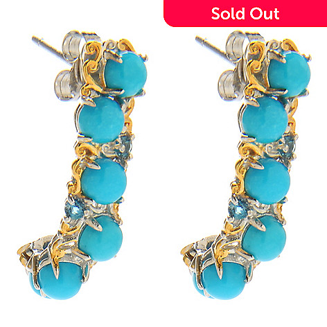 138-246 - Gems en Vogue 1'' Sleeping Beauty Turquoise & London Blue Topaz J-Hoop Earrings