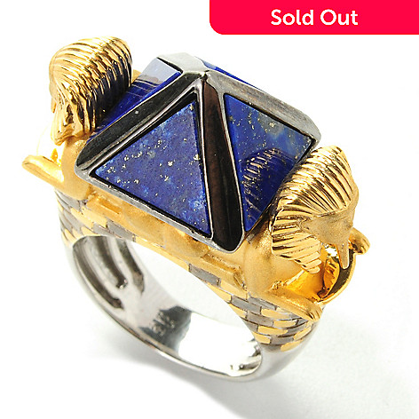 138-249 - Gems en Vogue 9mm Lapis Lazuli ''Pyramid of Khafre & the Great Sphinx'' Ring
