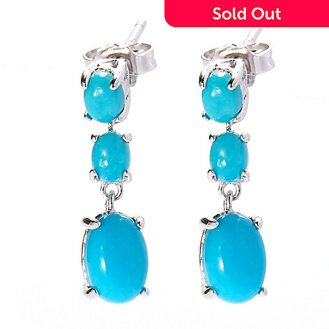 138-254 - Gem Insider® Sterling Silver Sleeping Beauty Turquoise Tri-Drop Earrings