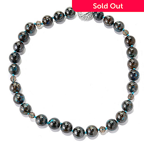 138-268 - Dallas Prince Sterling Silver 20'' Chrysocolla & Smoky Quartz Bead Necklace