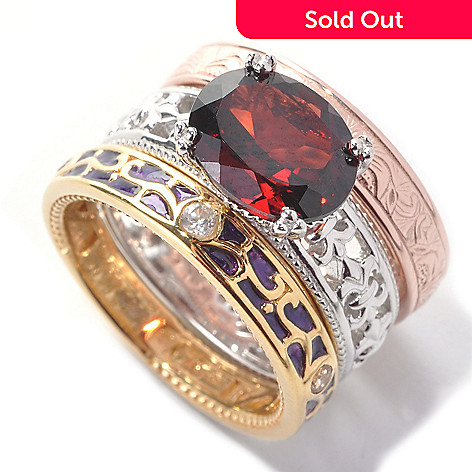138-272 - Dallas Prince Set of Three Sterling Silver Garnet & Topaz Stack Rings