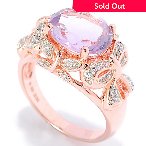 138-326 - NYC II™ 3.53ctw Oval Pink Amethyst & White Zircon Bow Ring
