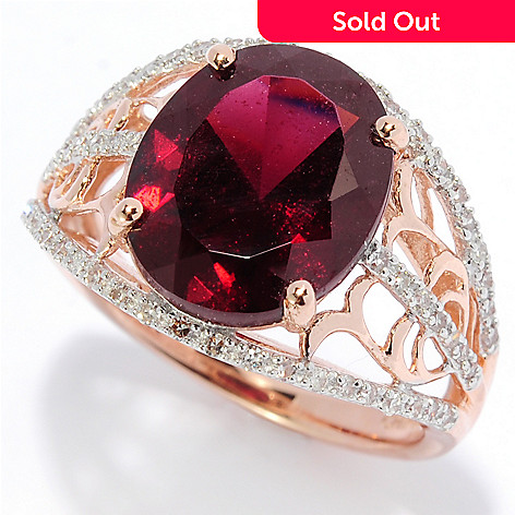 138-388 - Gem Insider™ 14K Rose Gold 4.22ctw Brazilian Garnet & Diamond Scrollwork Ring