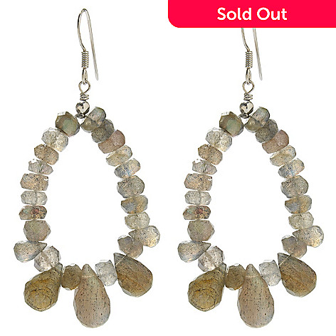 138-396 - Gem Insider™ Sterling Silver 2.5'' 14 x 7mm Labradorite Oval Drop Earrings