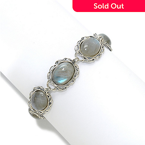 138-425 - Passage to Israel™ Sterling Silver 7.5'' 16 x 12mm Oval Gemstone Toggle Bracelet w/ Extender