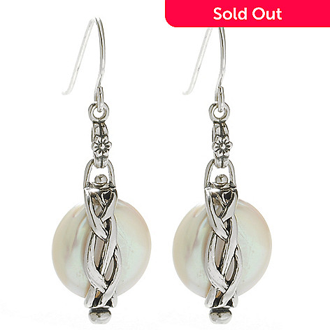 138-428 - Passage to Israel™ Sterling Silver 1.5'' 13-14mm Freshwater Cultured Pearl Drop Earrings