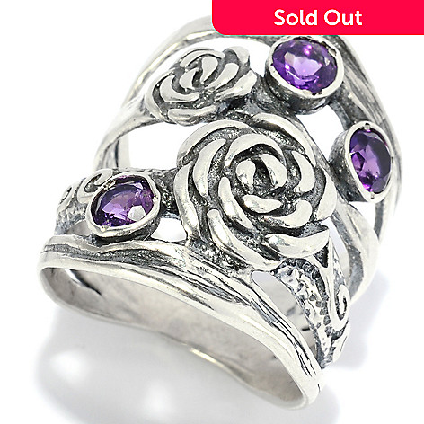 138-440 - Passage to Israel™ Sterling Silver Bezel Set Amethyst & Textured Flower Wide Band Ring