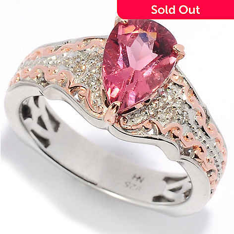 138-477 - Gems en Vogue 1.10ctw Pear Shaped Pink Tourmaline & Diamond Ring