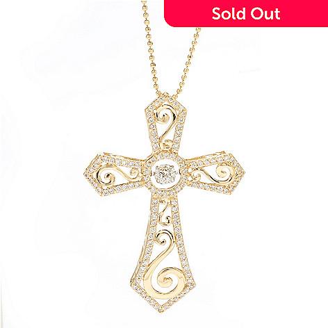 "138-519 - Beverly Hills Elegance® 14K Gold 0.94ctw Diamond Heartbeat Cross Pendant w/ 18"" Chain"