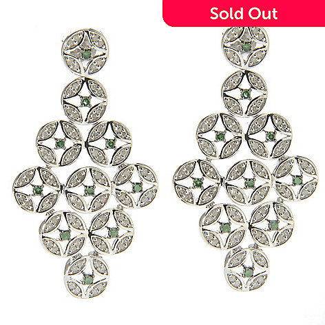 138-632 - Diamond Treasures® Sterling Silver 1.5'' 0.98ctw Green & White Diamond Geo Drop Earrings