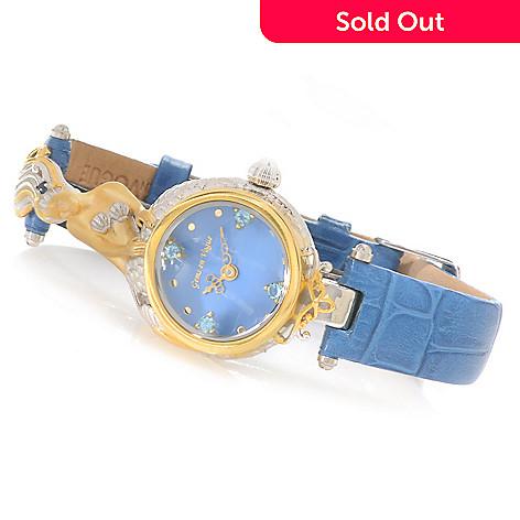 138-646 - Gems en Vogue Multi Gemstone Sculpted Mermaid Leather Strap Watch