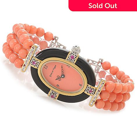 138-648 - Gems en Vogue Women's Bamboo Coral, Onyx & Ruby Three-Row Beaded Bracelet Watch