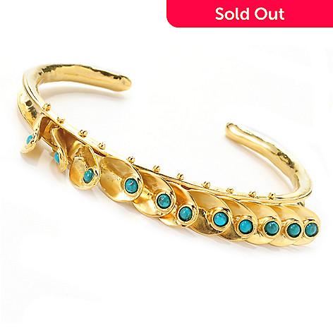 138-666 - Yam Zahav™ 18K Gold Embraced™ 6.25'' Polished Turquoise Fringe Cuff Bracelet