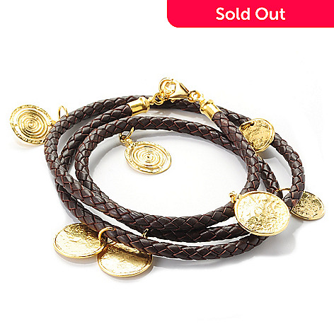 138-671 - Yam Zahav™ 18K Gold Embraced™ 30'' Coin Station Braided Leather Wrap Bracelet