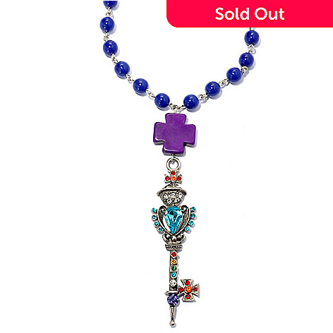 138-769 - FAITH 36'' Multi Color Crystal Cross & Textured Key Beaded Necklace