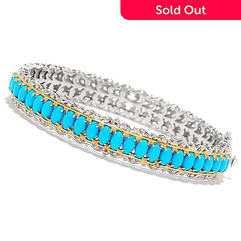 138-829 - Gems en Vogue Sleeping Beauty Turquoise Hinged Bangle Bracelet