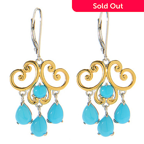 138-831 - Gems en Vogue 1.5'' Sleeping Beauty Turquoise Dangle Earrings