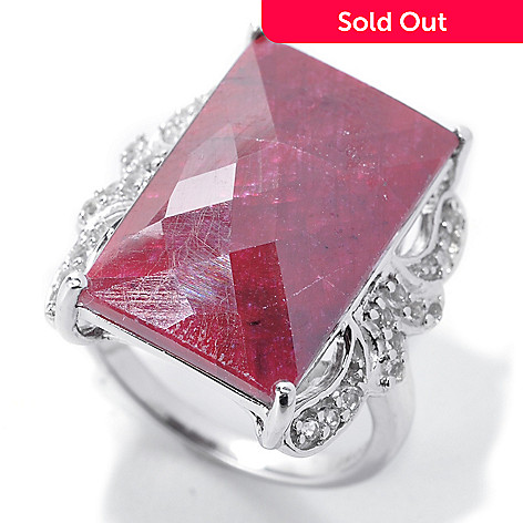 138-905 - NYC II 20 x 12mm Rose Cut Dyed Red Corundum & White Topaz Ring