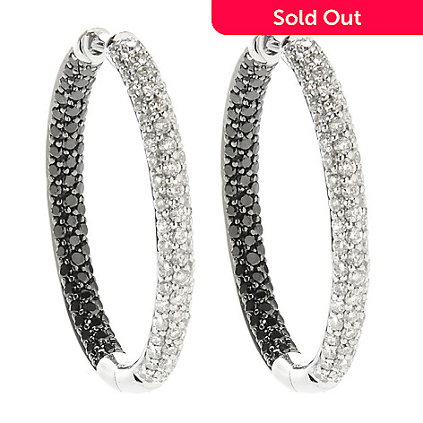 138-969 - Beverly Hills Elegance® 1.25'' 14K White Gold 2.48ctw Diamond Hoop Earrings