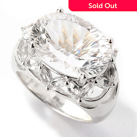 138-992 - Gem Insider® Sterling Silver 9.77ctw Oval Millennium-Cut White Quartz Ring