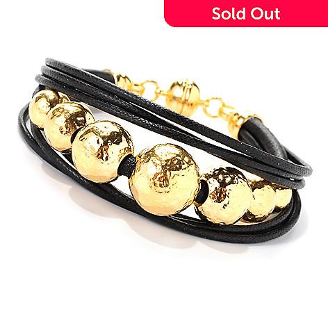 139-128 - Toscana Italiana 18K Gold Embraced™ 7.75'' Bead & Cord Bracelet w/ Magnetic Clasp