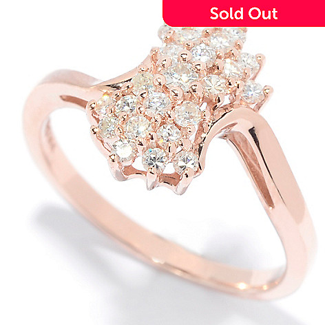 139-179 - Forever Brilliant Moissanite 14K Rose Gold Round Cut Cluster Band Ring
