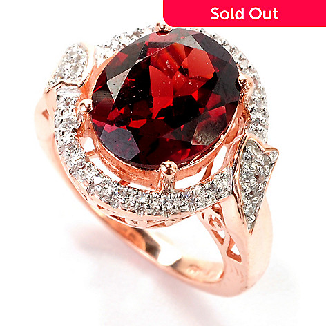139-225 - NYC II™ 4.34ctw Oval Mozambique Garnet & White Zircon Halo Ring