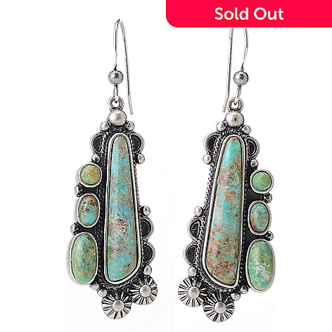 139-274 - Elements by Sarkash 2'' Multi Shaped Green Turquoise Flower Detail Drop Earrings