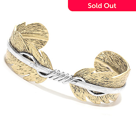 139-277 - Elements by Sarkash Two-tone Twisted Overlay Feather Cuff Bracelet