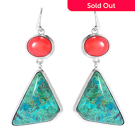 139-282 - Elements by Sarkash 2'' Chrysocolla & Red Coral Geometric Drop Earrings