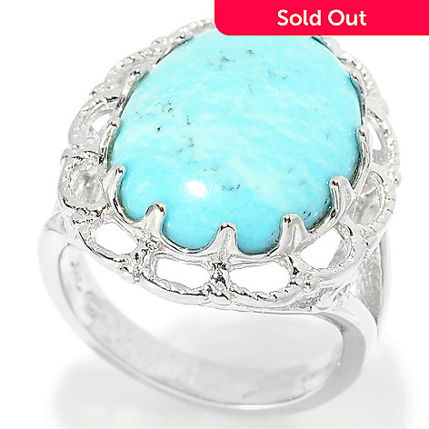 139-401 - Gem Insider® Sterling Silver 18 x 13mm Oval Turquoise Scalloped Ring