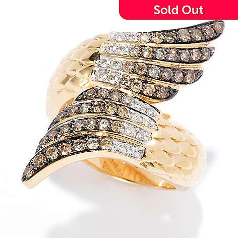 139-532 - Beverly Hills Elegance® 14K Gold 0.54ctw Champagne & White Diamond Wing Bypass Ring