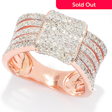 139-538 - Beverly Hills Elegance® 14K Rose Gold 0.58ctw Diamond Square Multi Band Wide Ring