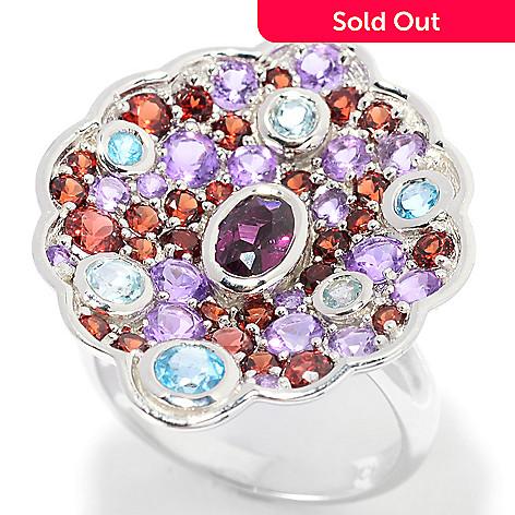 139-548 - Gem Insider® Sterling Silver 2.89ctw Rhodolite Garnet & Multi Gem Concave Ring