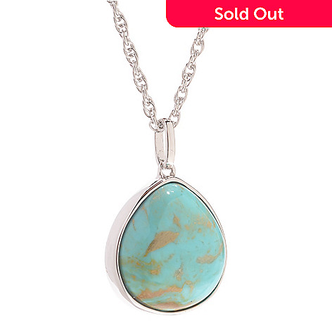 139-668 - Gem Insider™ Sterling Silver 15 x 14mm Oval Kingman Turquoise Reversible Pendant