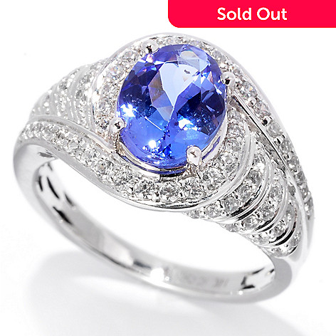 139-749 - Gem Treasures® 14K White Gold 2.38ctw Tanzanite & White Zircon Curved Halo Ring